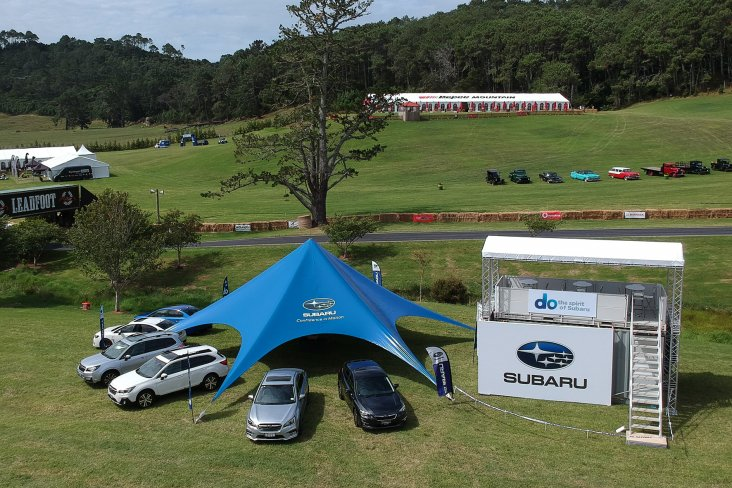 The Subaru tent with the full Subaru model range and the new two-storied viewing platform all set up on Friday before the Leadfoot Festival. PHOTO: GEOFF RIDDER