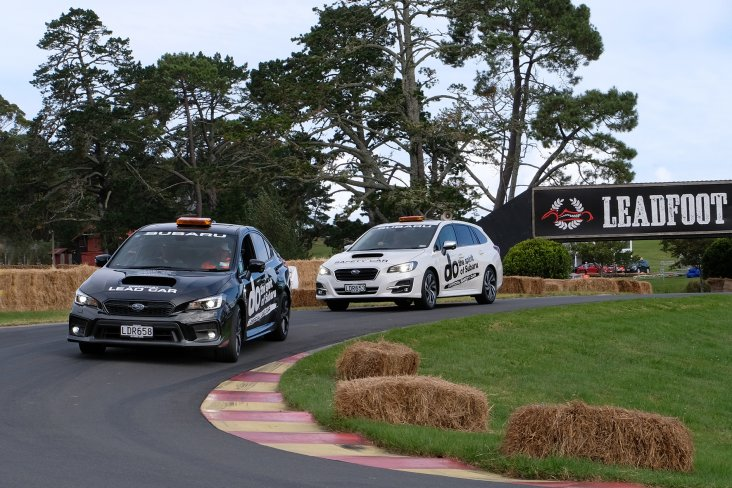 The Subaru performance cars were on duty over the weekend at the Leadfoot Festival with the WRX (front) and Levorg on the driveway as the lead and tail cars. PHOTO: GEOFF RIDDER