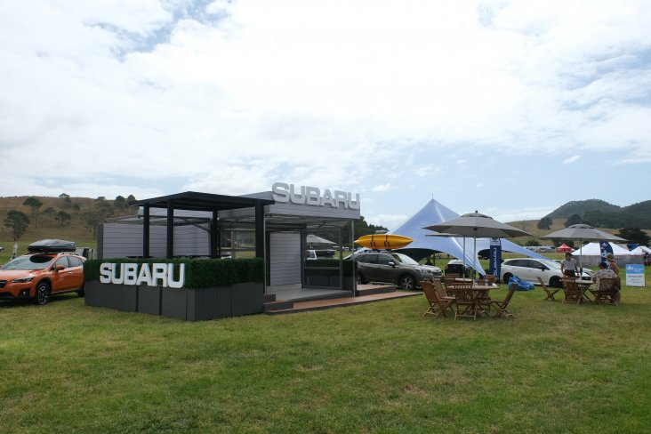 The new Subaru stand has a backyard entertaining theme.