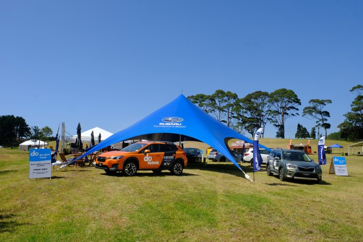 The full Subaru model range was on display in the Subaru tent at the 2020 Leadfoot Festival.