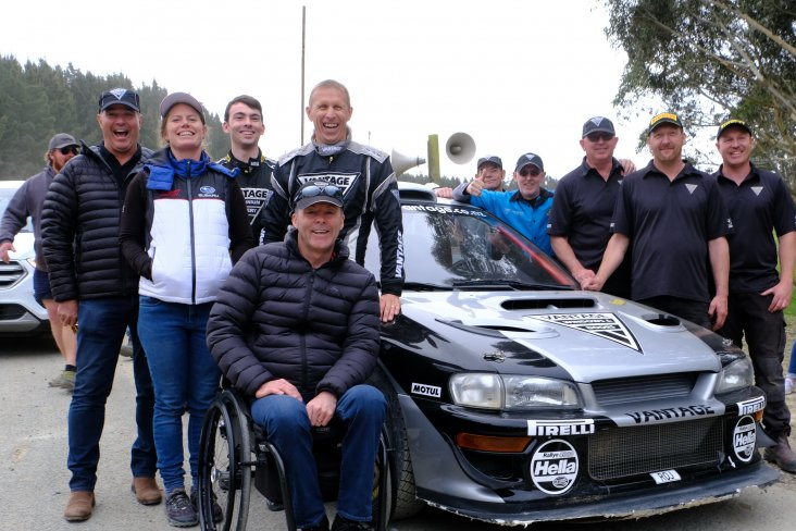 The Vantage and Subaru team celebrate the win at the finish line. PHOTO: GEOFF RIDDER.