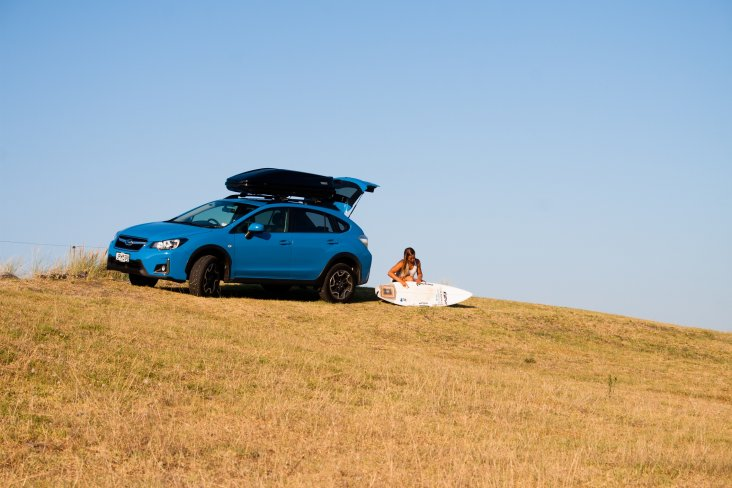 Paige Hareb and 2016 Subaru XV Crossover.  Photo credit Paul Brunskill - Surf2Surf