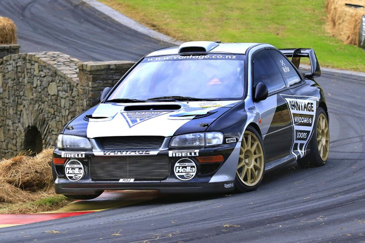 Vantage Subaru driver Alister McRae lifts a wheel on the car as he hurtles up the hill to win the Leadfoot Festival  in 49.15secs today. PHOTO: GREG HENDERSON