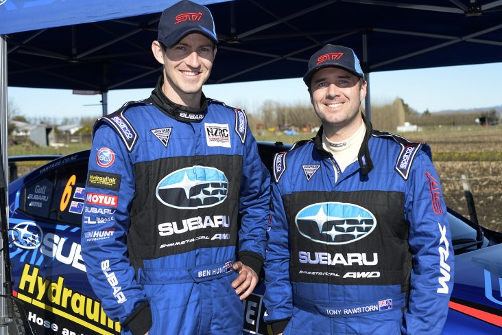 Subaru of New Zealand Brand Ambassador Ben Hunt and co-driver Tony Rawstorn (right) are aiming for a strong finish in their Subaru WRX STi at this Saturday's Mahindra Gold Rush Rally of Coromandel. PHOTO CREDIT: GEOFF RIDDER