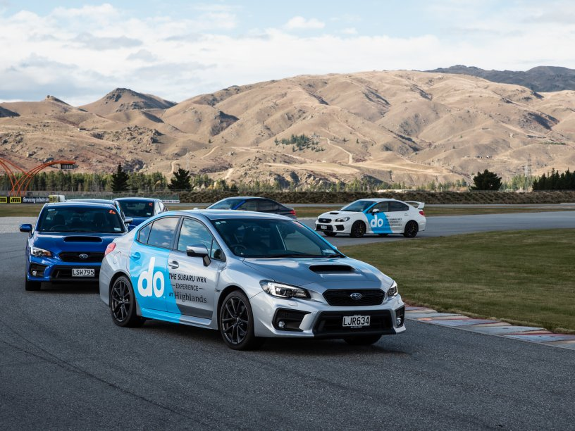 The 2020 Subaru WRXs at Highlands on the track.