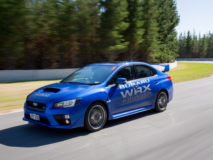 Blue WRX STI on track at Highlands Motorsport Park. Photo credit Highlands Motorsport Park