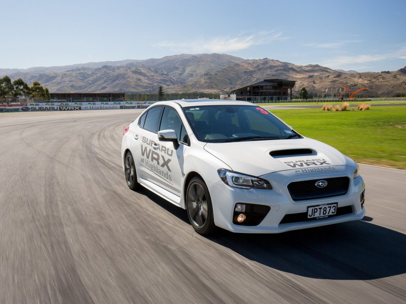 White WRX at Highlands Motorsport Park. Photo credit Highlands Motorsport Park