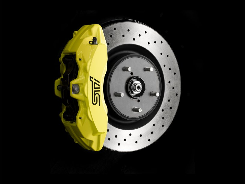 STI Brembo brake calipers - yellow