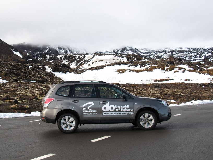A Subaru Forester driven by RAL staff as part of the two mountains' partnership with Subaru of New Zealand, displays the 2017 sign writing.