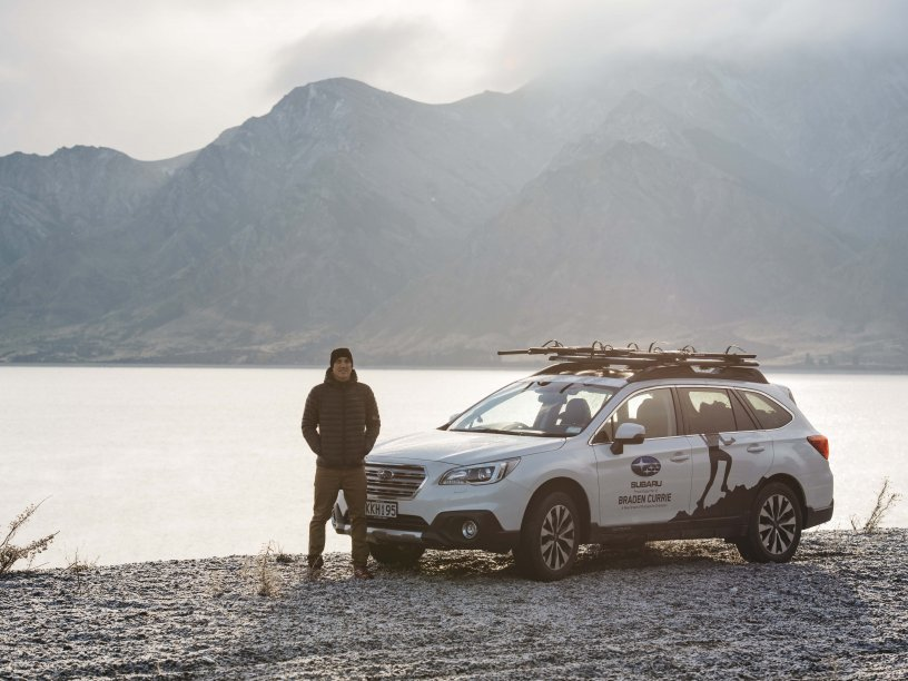 Braden Currie and his Subaru Outback. Photo Credit Mickey Ross
