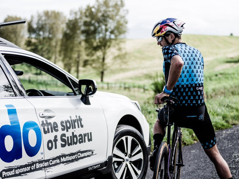 Braden Currie and his Subaru Outback during the Taupo Ironman 2018. Photo Credit Korupt Vision