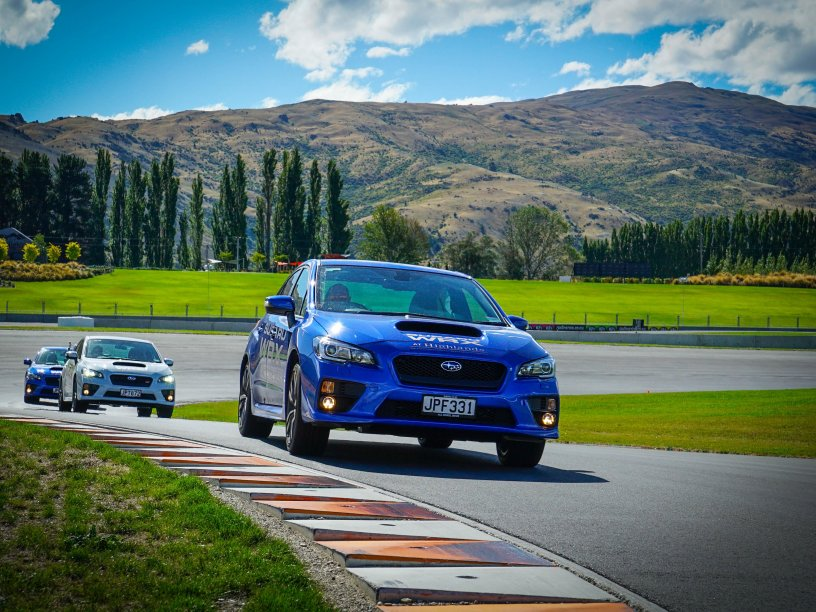 Subaru WRXs on track at Highlands Motorsport Park. Photo credit Highlands Motorsport Park