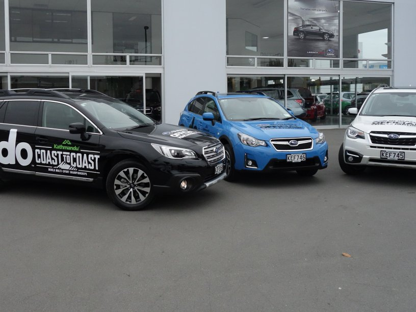 Subaru of New Zealand is the official vehicle supplier to the Kathmandu Coast to Coast and these three branded Subaru SUV models will be seen out and about on the Kumara beach to New Brighton course on Friday and Saturday.