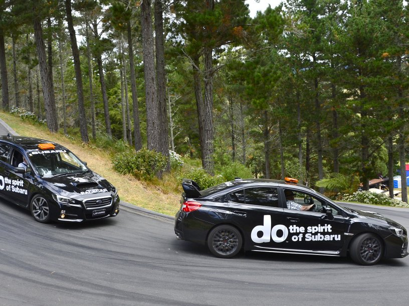 Subaru Pace Cars WRX and Levorg at the Leadfoot Festival. PHOTO CREDIT: GEOFF RIDDER