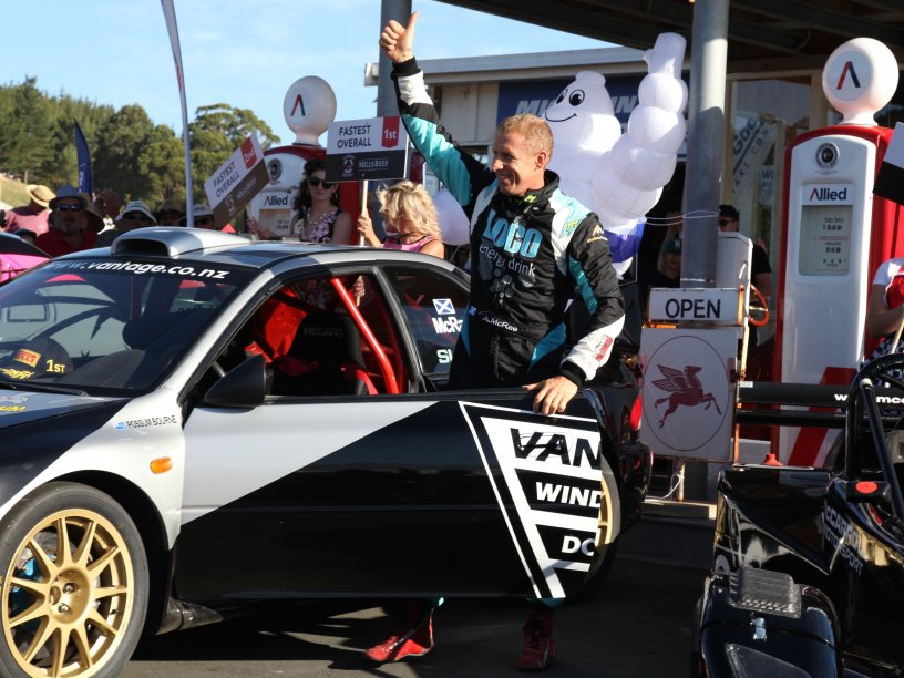 Scottish rally star Alister McRae gives the thumbs up after winning the 2017 Leadfoot Festival in the Vantage Motorsport Subaru WRX today. PHOTO: DAVID PEARCE.
