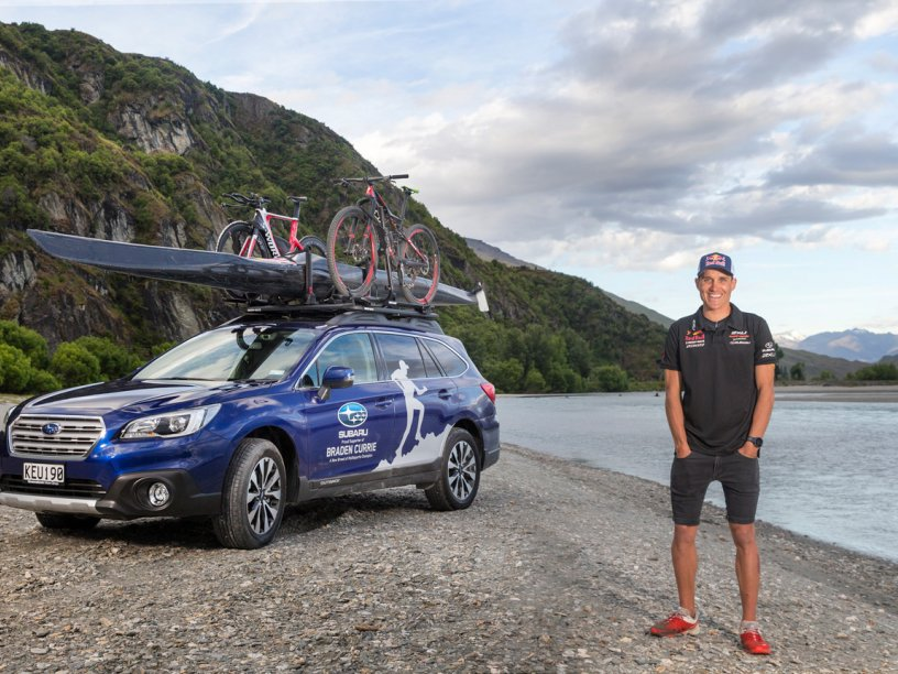 Subaru Brand Ambassador Braden Currie with his Subaru Outback, which has enabled him to 'do' his very best to prepare for a fourth Kathmandu Coast to Coast victory in February. PHOTOS FREE FOR EDITORIAL USE.