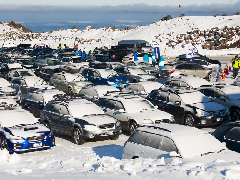 The Subaru Top Weekend parking lot - full of Subarus!