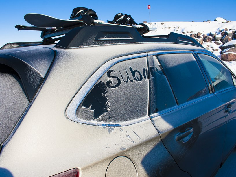 Subaru snow writing on Outback