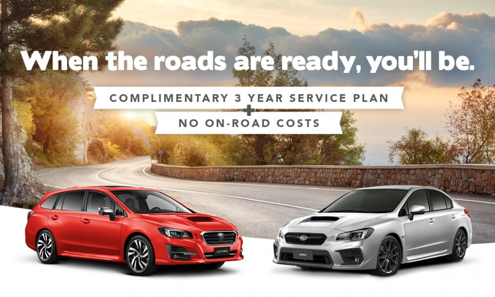 Subaru WRX or Levorg now with complimentary service plan and no on-road costs.