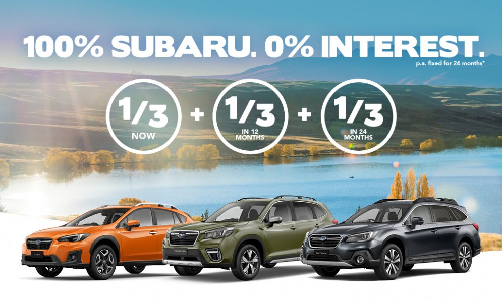 100% Subaru and 0% Interest on a new Subaru SUV. Pay in thirds now.