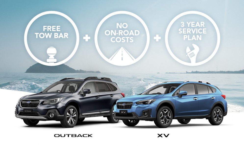 free tow bar, service plan and no on-road costs with Outback or XV.