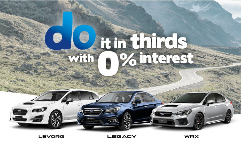 do it in thirds with 0% interest p.a. - WRX, Legacy and Levorg.