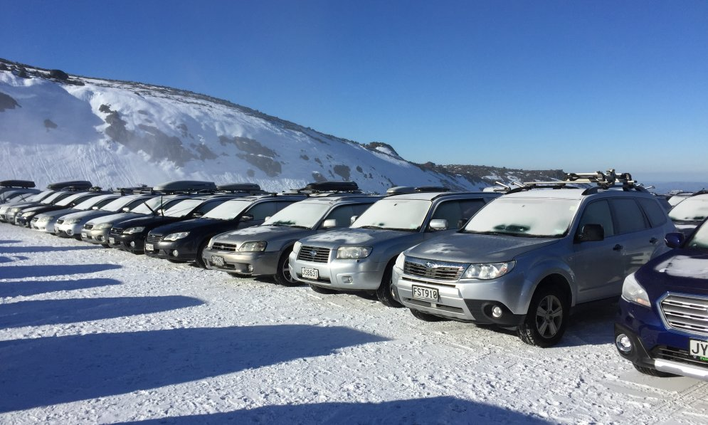 Subaru vehicles at Turoa ski area covered in now.
