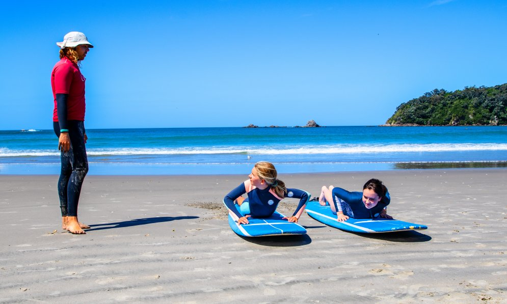 Surf school helps kids learn the basics in a safe environment. PC: Surf2Surf